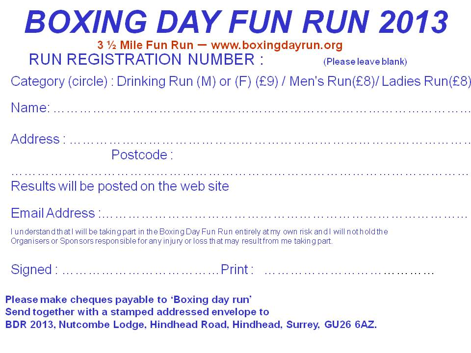 boxing day run registration form